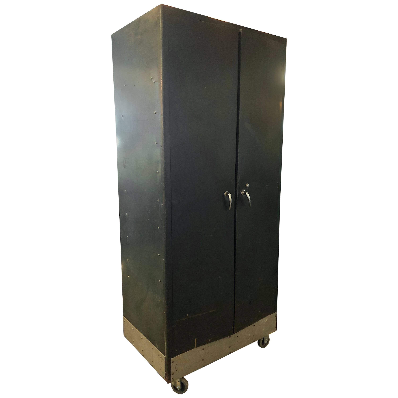 Storage Cabinet Vintage Steel Locker Unit Of Steel On Wheels; Shelves And  Closet For Sale