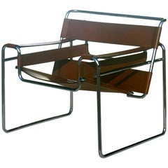 """Wassily"" Marcel Breuer by Gavina Bauhaus Design 1960s Brown Leather Armchair"