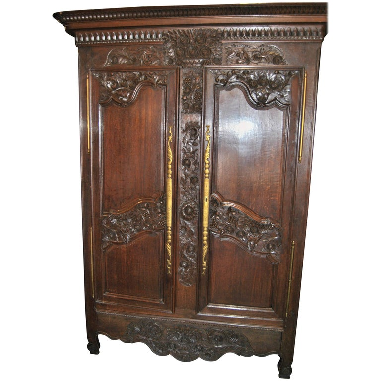 18th Century French Carved Oak Armoire For Sale