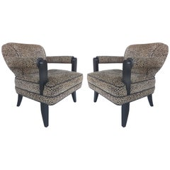 Sculptural Club Chairs in Leopard by Larry Laslo for Directional Furniture