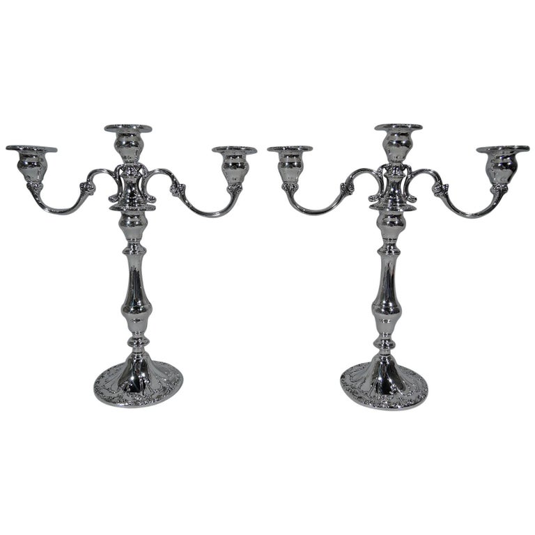 Pair of Gorham Chantilly Sterling Silver Three-Light Candelabra