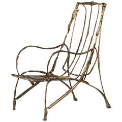 Armchair by Salvino Marsura, Hand-Forged Wrought Iron, Late 20th Century