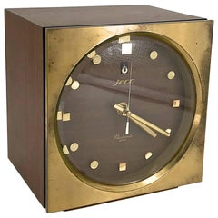 1960s Tiger Tenaka Japanese Table Clock in Walnut Glass and Brass