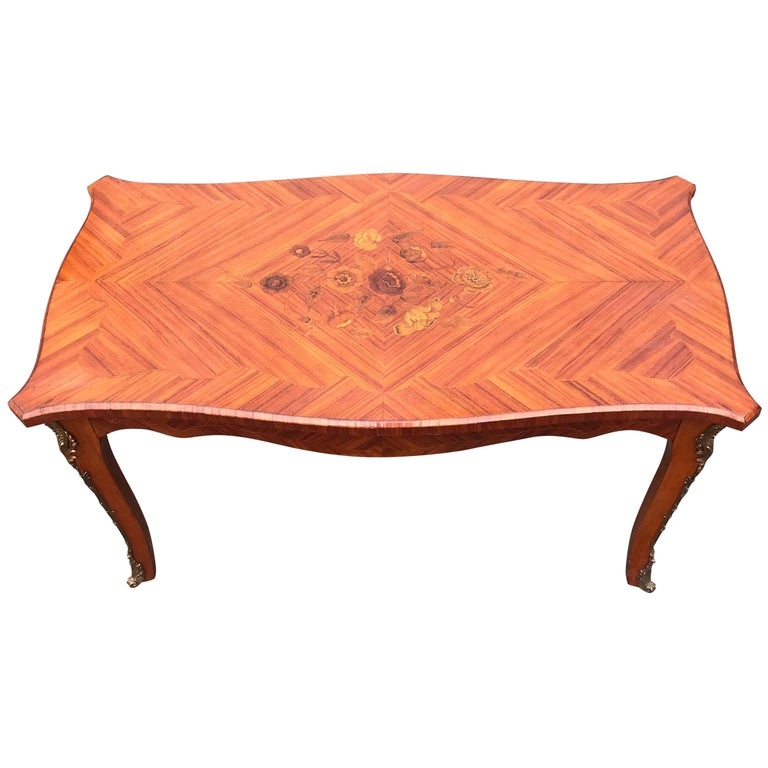 Rare Kingwood & Bronze Louis XV Style Coffee Table with Flower Marquetry Inlay