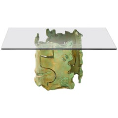 Coffee Table by Salvino Marsura, Hand-Forged Steel Billet, Late 20th Century