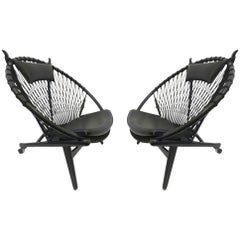Pair of Black Lacquer Oak and Learher Lounge Chairs by Hans Wegner