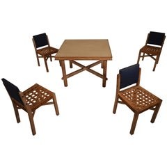 Game Table with Four Chairs in Cerused Oak by Marcel-Louis Baugniet, 1930s