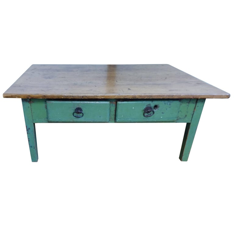 19th Century Canadian Green Painted Coffee Table