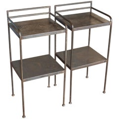 Pair of Vintage English Industrial Metal Side Tables