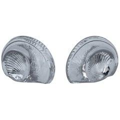 Blenko Glass Shell Bookends