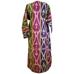 Silk Ikat Uzbekistan Chapan Robe with Russian Cotton Lining