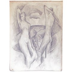 """Nudes in Cubist Landscape,"" Drawing by Glidden Parker, Founder, Glidden Pottery"