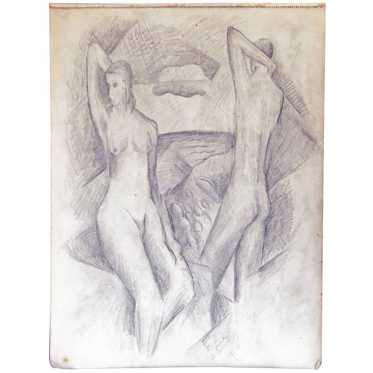 """Nudes in Cubist Landscape,"" Drawing by Glidden Parker, Founder, Glidden Pottery For Sale"
