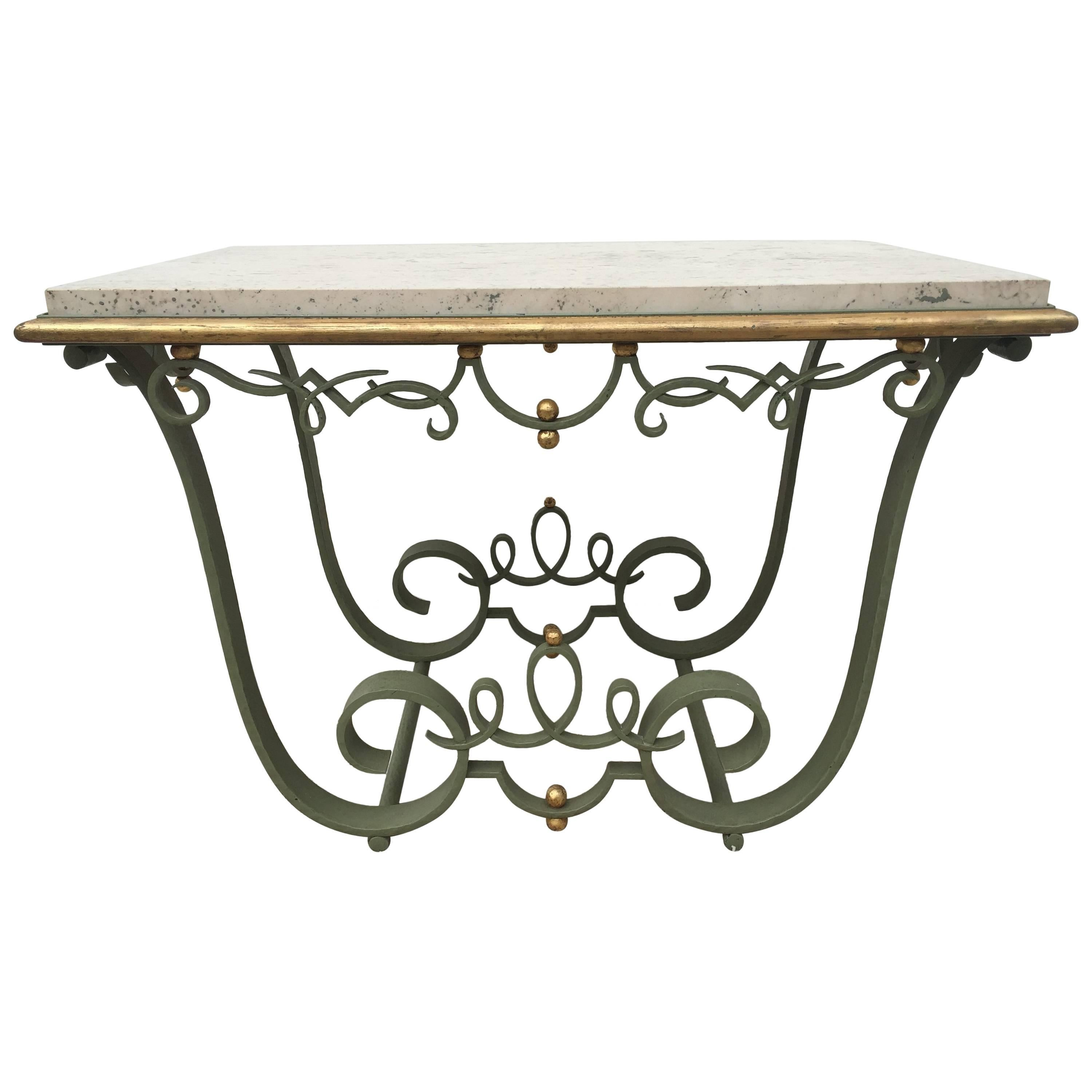 Raymond Subes Attributed Iron and Gilt Marble Table