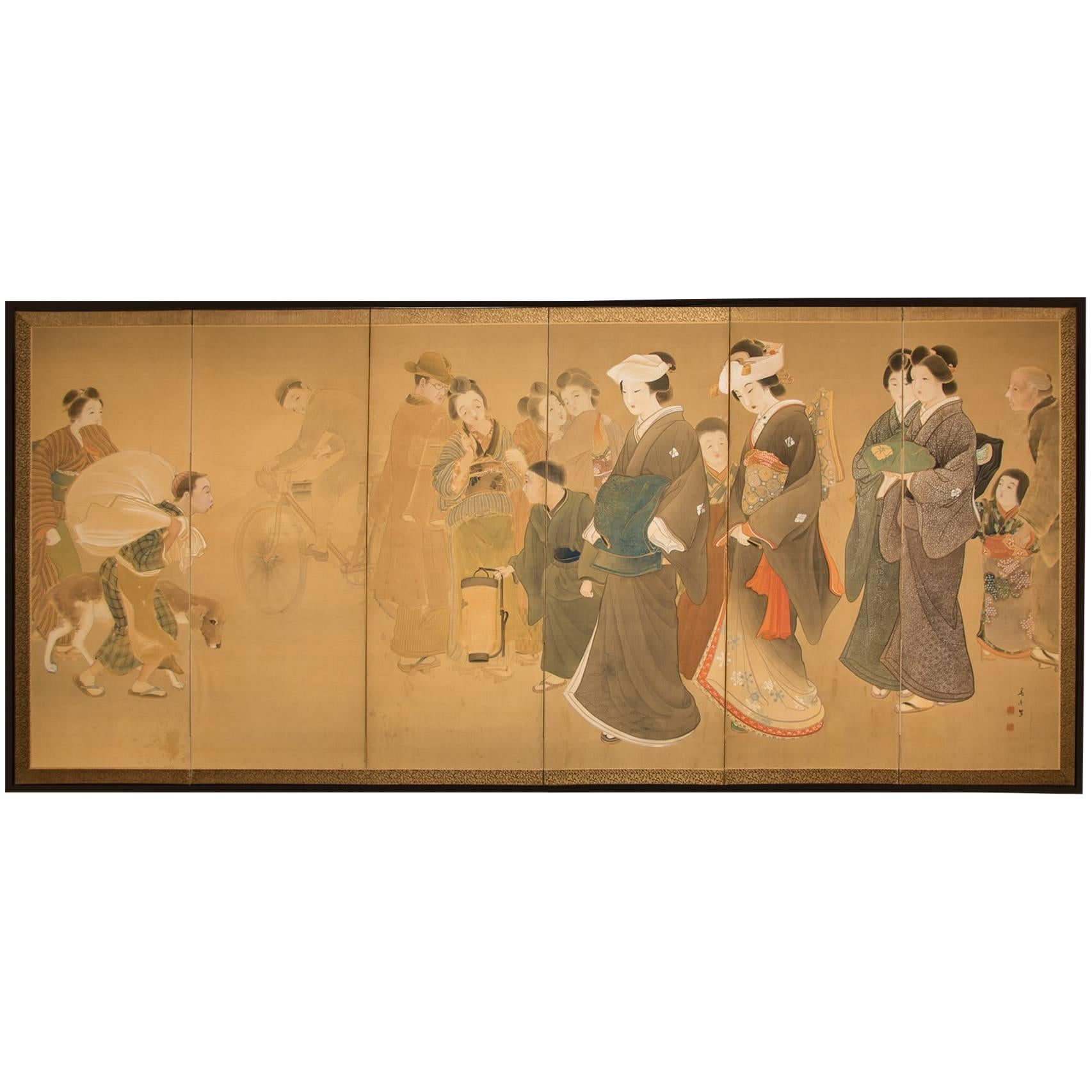 "Japanese Six-Panel Screen ""Wedding Procession"""