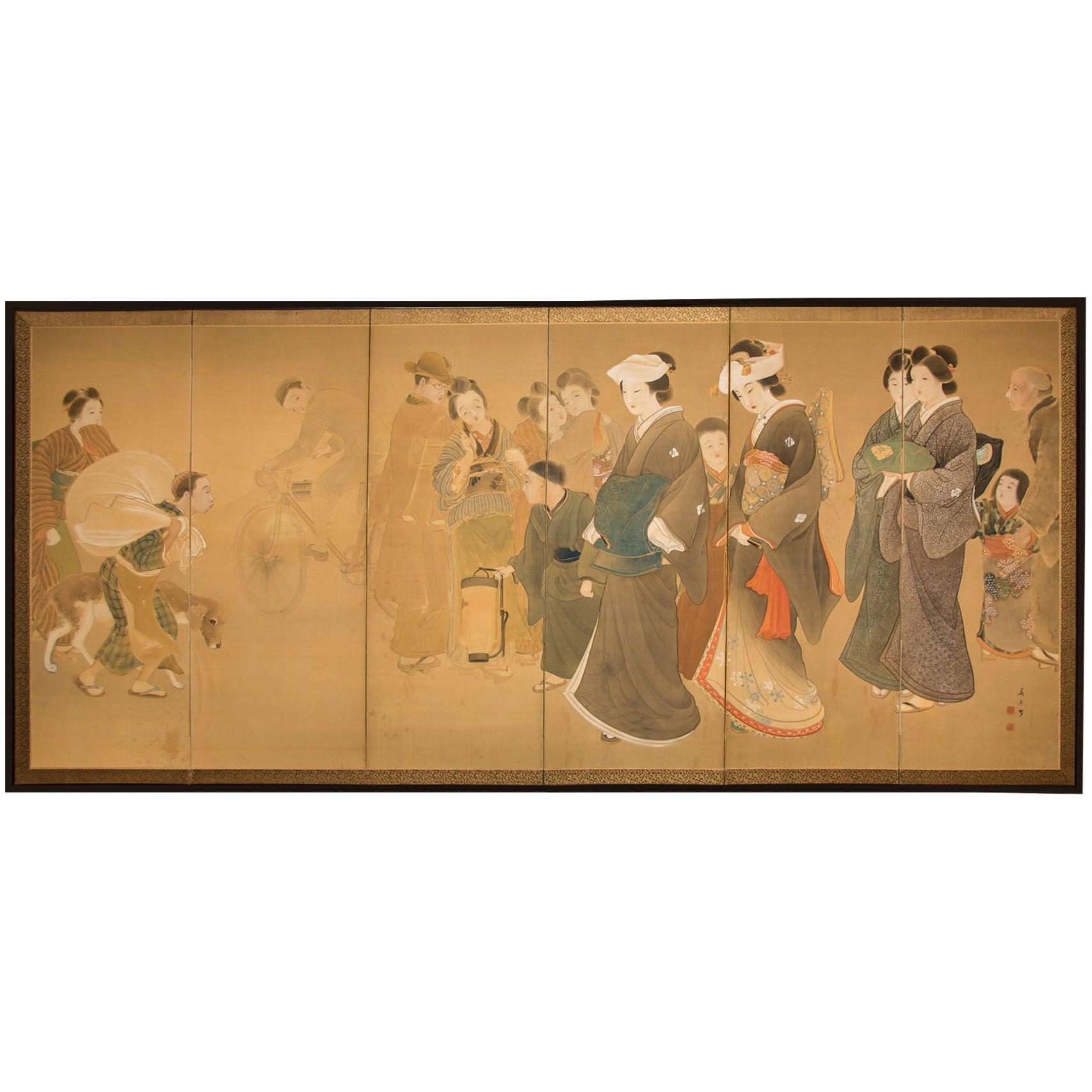 "Japanese Six-Panel Screen ""Wedding Procession"""