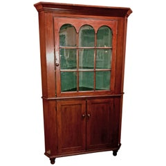 Federal Two Part Cherry Corner Cupboard with Glazed Door, circa 1810-1820