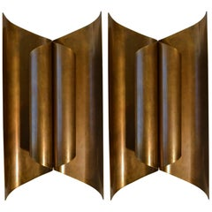 Large Pair of Sculptural Modernist Brass Wall Sconces