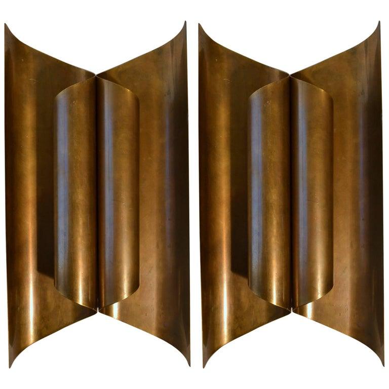 Large Pair of Sculptural Modernist Brass Wall Sconces