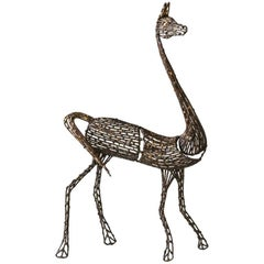 Giraffe Sculpture by Salvino Marsura, Hand Welded Steel, Late 20th Century