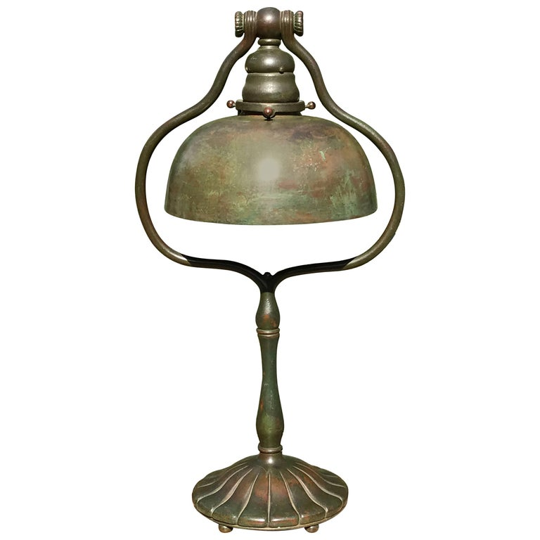 Tiffany Studios Tall Bronze Harp Table Desk Lamp New York, 1915
