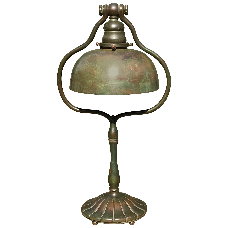 Tiffany Studios Tall Bronze Harp Table Desk Lamp New York, 1915 For Sale