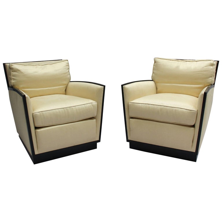 Pair of French Art Deco Club Chairs by Dominique