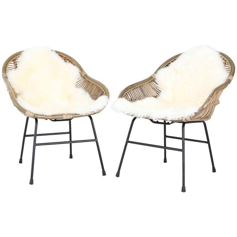 Pair of French Mid-Century Modern Rattan Chairs, 1960s