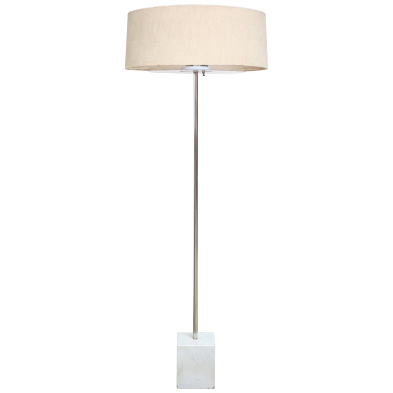 Marble and Chrome Floor Lamp by Laurel