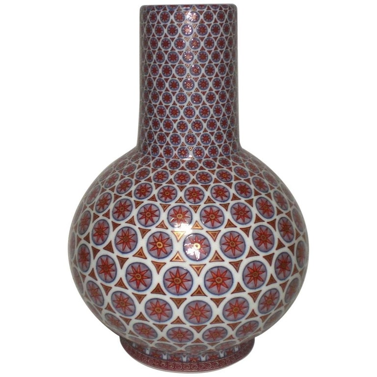 Hand-Painted Decorative Porcelain Vase by Murakami Genki