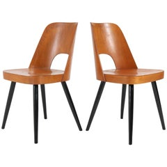 Pair of Mid-Century Modern Beech Chairs by Oswald Haerdtl for Thonet, 1950s