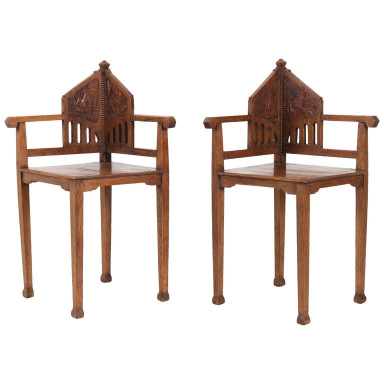 Pair of Oak Dutch Arts & Crafts Art Nouveau Corner Chairs, 1900s