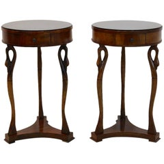 Sophisticated French Swan Tables with Glass Top