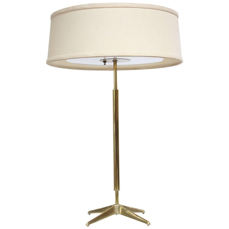 Gerald Thurston for Lightolier Brass Table Lamp with Original Shade