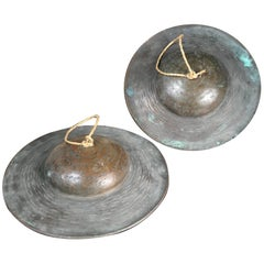 Japanese Antique Cymbals Hand Cast Bronze, 19th Century