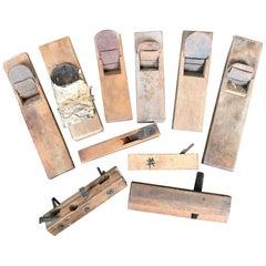 Japanese Carpenter's Cache 11 Vintage Professional  Wooden Planes Kanna