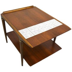Pair of Tile and Wood End Tables by Lane Furniture Company