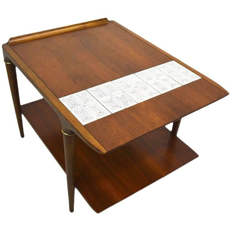 Pair Of Tile And Wood End Tables By Lane Furniture Company For