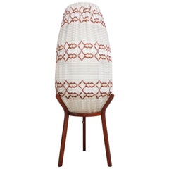 Danish Crocheted Lamp on Teak Base in Brown