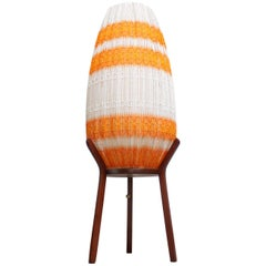 Danish Crocheted Lamp on Teak Base in Orange
