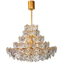 German Crystal Glass Chandelier with Golden Frame by Kinkeldey, 1970s
