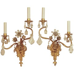 Pair of Gilt Wrought Iron and Cut Crystal Sconces by Maison Baguès