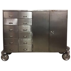Industrial Metal Cabinet on Heavy Duty Casters, Drawers and Doors