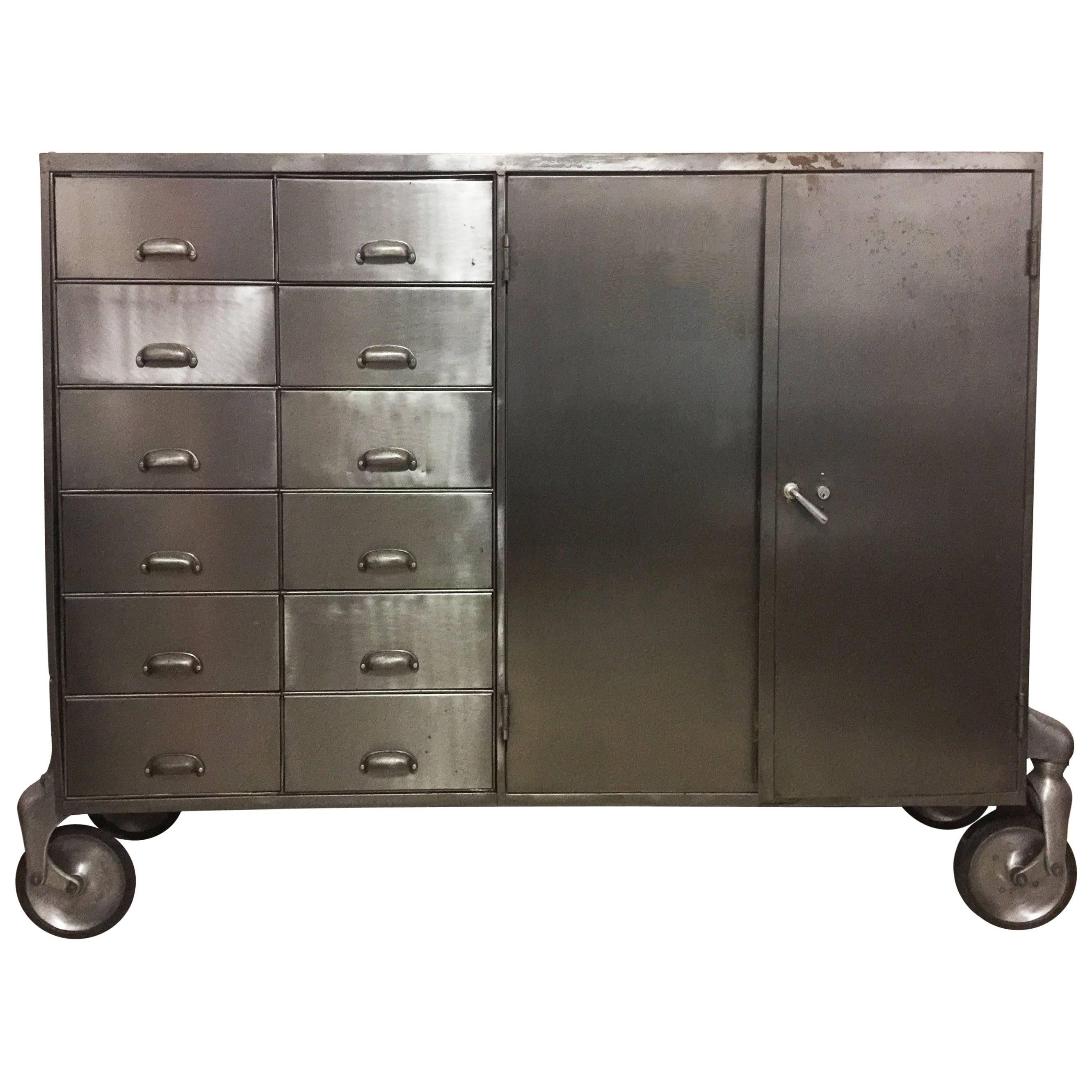 Industrial Metal Cabinet On Heavy Duty Casters, Drawers And Doors For Sale