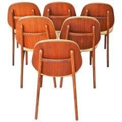 Set of Six Danish Teak Dining Chairs by Arne Hovmand-Olsen in Camel Wool