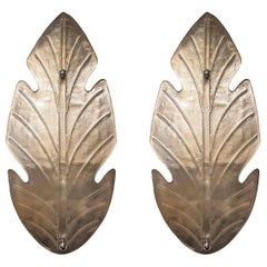 Barovier Mid-Century Modern Italian Pair of Leaf Pattern Murano Glass Sconces