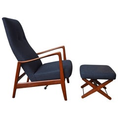 Danish Modern Teak Rocking Chair / Recliner and Ottoman, Charcoal Wool, Norway