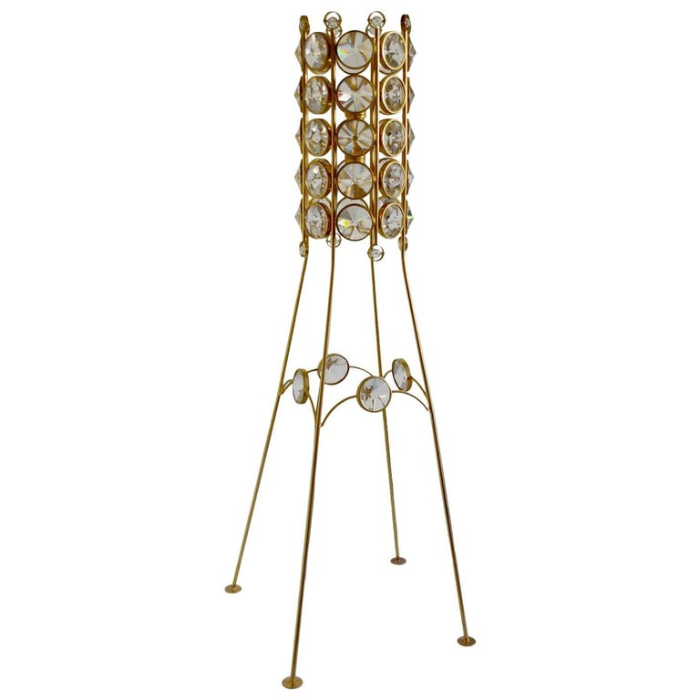 German Very Rare Crystal Glass and Brass Floor Lamp by Palwa, 1950s