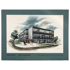 Original Watercolor, Modernist Architectural Rendering, ,Maxwell Starkman
