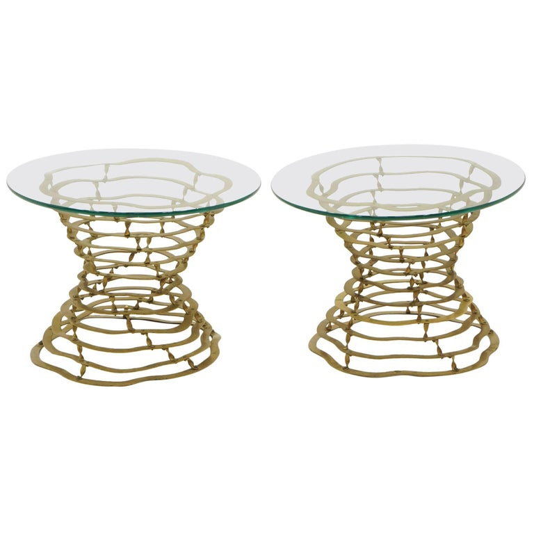 Pair of Silas Seandel Volcano Side Tables Bronze Frames with Glass Tops